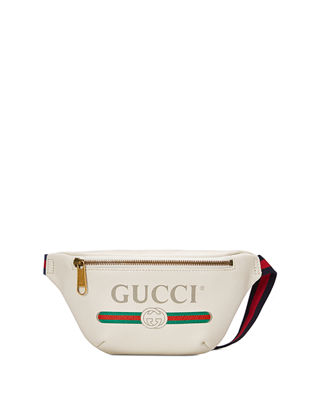 -Print Small Retro Leather Fanny Pack Bag, White