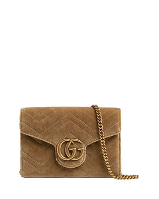 Gg Marmont 2.0 Matelasse Velvet Wallet On A Chain by Gucci