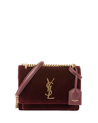 SAINT LAURENT Sunset Monogram Ysl Small Velvet Chain Crossbody Bag, Red