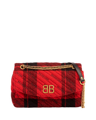 BB CHAIN TWEED LOGO WALLET SHOULDER BAG
