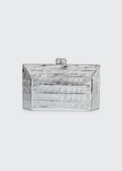 Geo Kiss-Lock Metallic Crocodile Minaudiere Clutch Bag