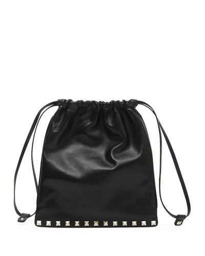 Rockstud Leather Pouch Bag