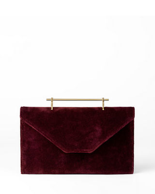 Annabelle Velvet Clutch - Purple, Cherry