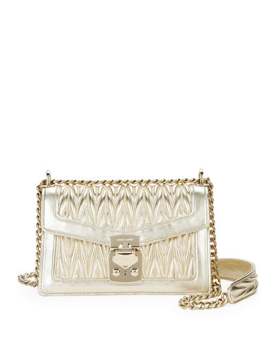 Miu Confidential Matelasse Leather Flap Shoulder Bag
