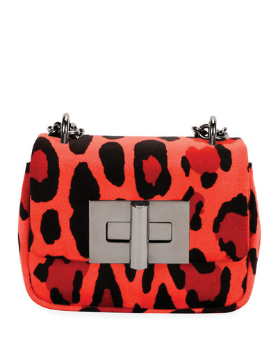 Natalia Small Leopard-Print Soft Velvet Shoulder Bag