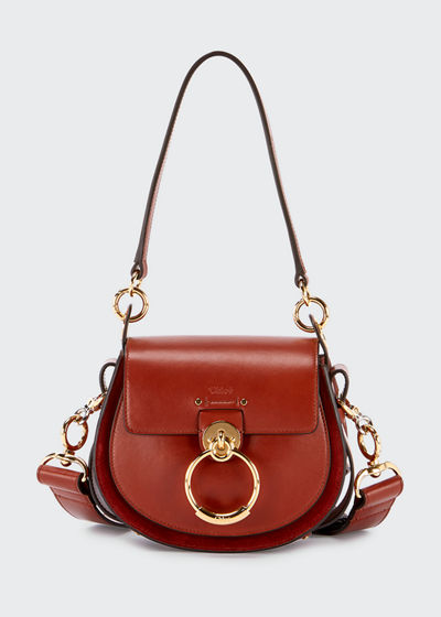 Tess Small Leather/Suede Camera Crossbody Bag