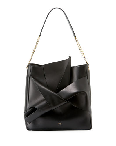 Napa Leather Bow Hobo Bag