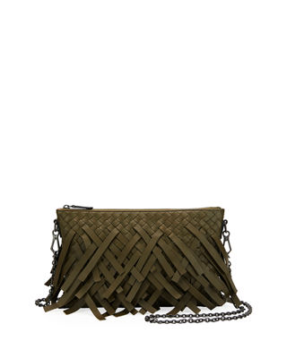 Palio Fringe Woven Leather Zip-Top Pouch Crossbody Bag, Dark Green