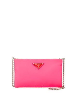 Neon Padded Clutch in Pink