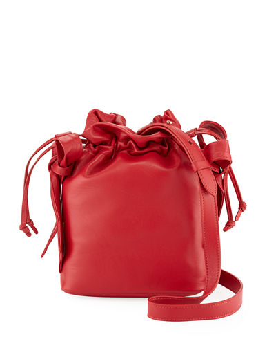 Leather Bow Pouch Bag