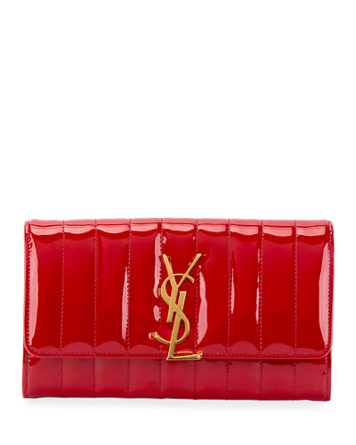 Saint Laurent Vicky Monogram YSL Quilted Patent Continental