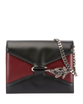 Pin Calfskin Leather Shoulder Bag - Black, Black/Red