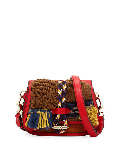 Knitted Colorblock Double-Sided Saddle Bag