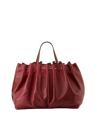 Bloomy Gathered Calf Leather Tote Bag