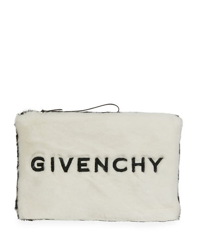 GV3 Large Faux-Fur Pouch Wristlet Clutch Bag