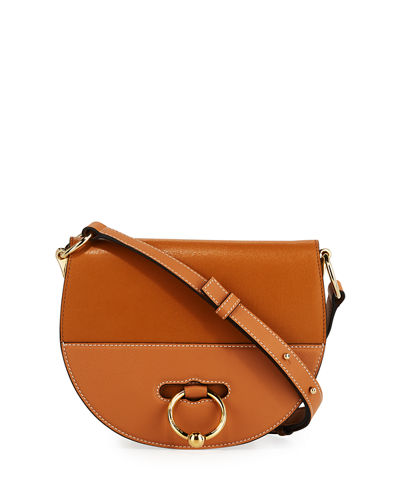 Latch Goatskin Leather Saddle Shoulder Bag