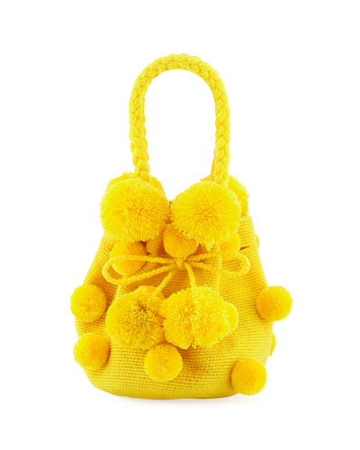 Mochila Con Pompoms Bucket Bag