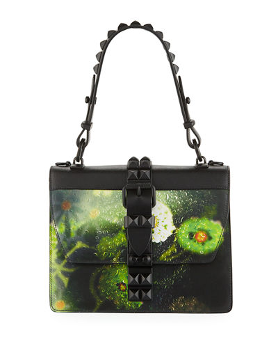 Elektra Saffiano Leather Top Handle Bag in City Lights Print