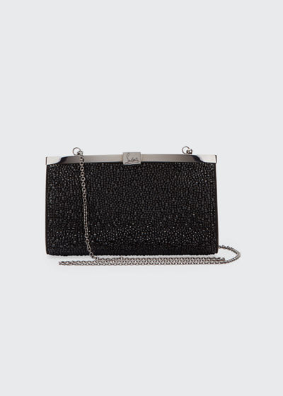 Palmette Small Crystal Suede Clutch Bag