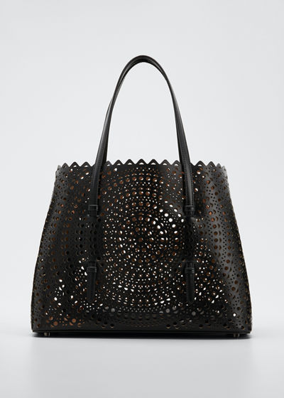 Mina Medium Laser-Cut Leather Tote Bag