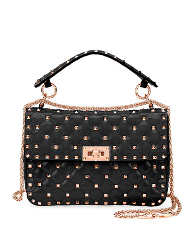 Rockstud Spike Quilted Patent Small Shoulder Bag