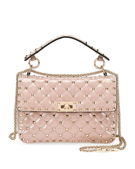 Shop Valentino Rockstud Spike Quilted Patent Small Shoulder Bag In Beige 4b625e576f