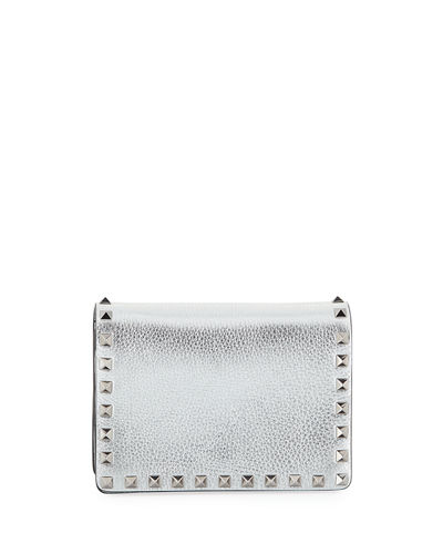 Rockstud Metallic Leather Pouch Bag on a Chain
