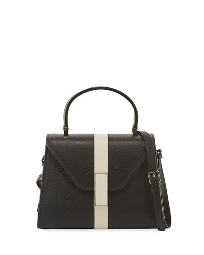 Iside Mini Saffiano Stripe Leather Satchel Bag
