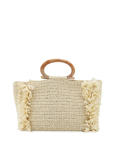 Carolina Santo Domingo Raffia Large Corallina Tote Bag