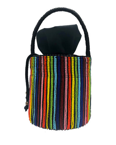 Beaded Fringe Rainbow Mini Bucket Bag