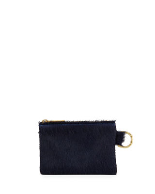ALLISON MITCHELL Neon Small Fur Wallet Pouch Bag in Navy