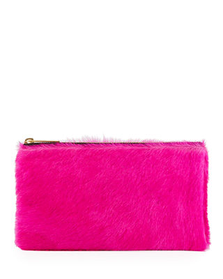 ALLISON MITCHELL Large Fur Wallet Pouch Bag in Fuchsia