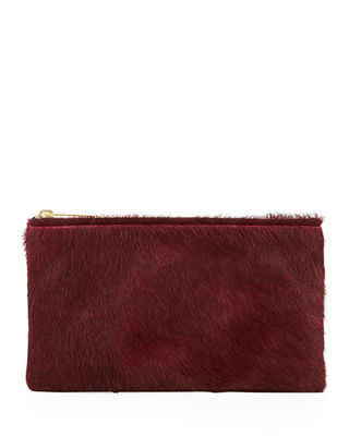 ALLISON MITCHELL Large Fur Wallet Pouch Bag in Wine