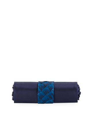 ALLISON MITCHELL Satin And Fishkin Claire Clutch Bag in Navy