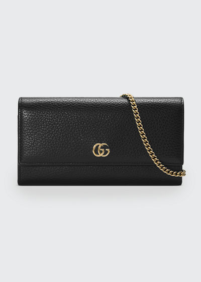 8ff93aaacc16 Gucci Petite GG Marmont Leather Flap Wallet on a Chain