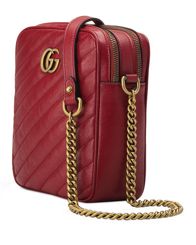 82cbed044a86 Gucci GG Marmont Tall Chevron Leather Crossbody Bag
