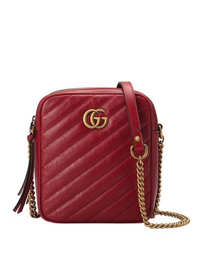 bc564904c42 GG Marmont Tall Chevron Leather Crossbody Bag