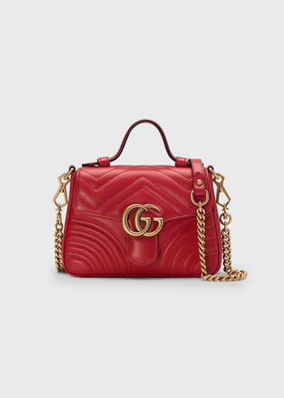 GG Marmont Mini Chevron Leather Satchel Bag