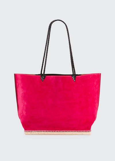 Espadrille Large Suede Shoulder Tote Bag