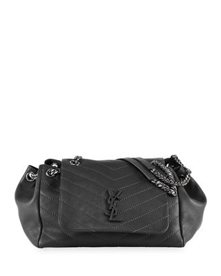 Nolita Large Monogram Ysl Double Chain Shoulder Bag, Black