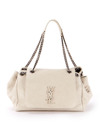 Nolita Large Monogram Ysl Double Chain Shoulder Bag, White