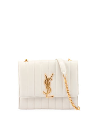 Small Vicky Quilted Lambskin Leather Crossbody Bag - Ivory in Cremasoft