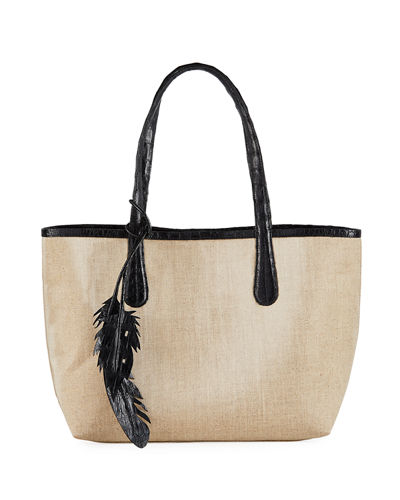 Erica Small Linen Leaf Tote Bag
