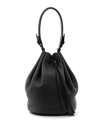 Leather Curly Bucket Shoulder Bag