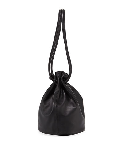 Leather Drawstring Pouch Bucket Bag