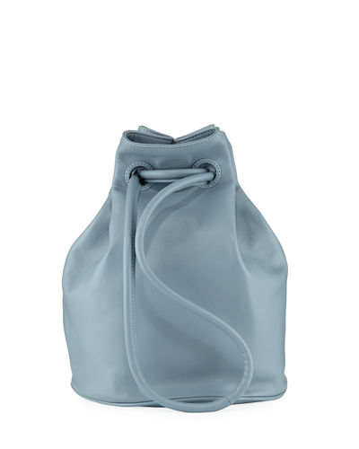 31307c8e84 Leather Drawstring Pouch Bucket Bag Quick Look. LIGHT BLUE  BLACK ...