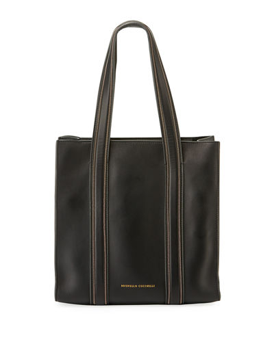 Smooth Leather Tote Bag with Monili Trim
