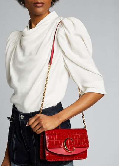 C Croc-Embossed Leather Shoulder Bag
