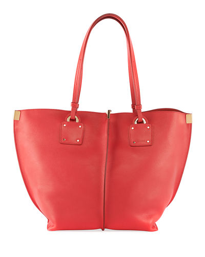 Vick Wide Leather Tote Bag