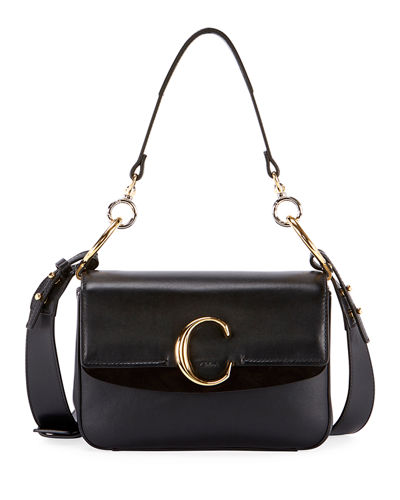 C Small Shiny Calf Leather Shoulder Bag